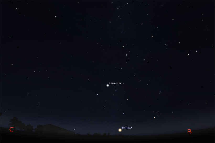 Венера на небе в июле 2017
