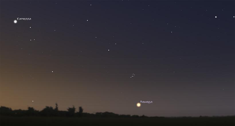 Венера и скопление Плеяды