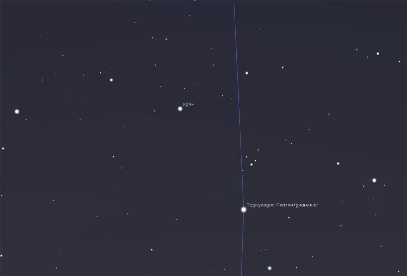 Уран и звезда омикрон Рыб 2017