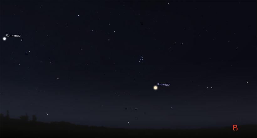 Венера и Плеяды в июле 2017