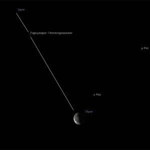 Луна рядом с Ураном ночью 17 июля