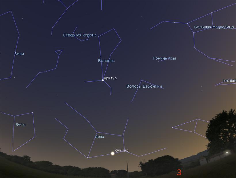 Юпитер на небе в июле 2017