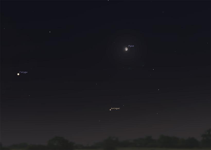 Луна и Антарес в июле 2017 года