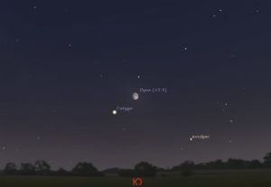 Луна и Сатурн на небе