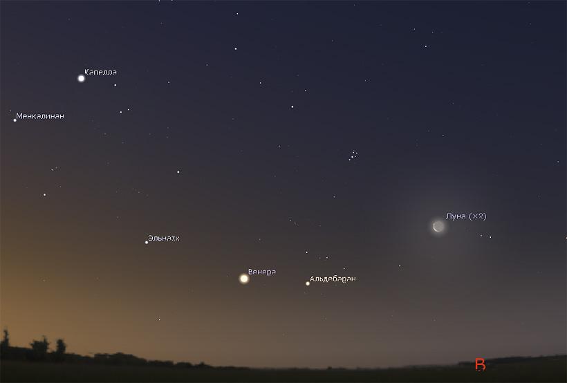 Луна и Венера утром 19 июля