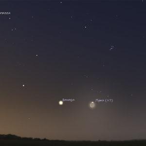 Луна и Венера на утреннем небе 19 и 20 июля