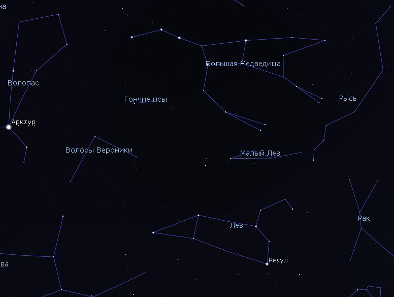 созвездие Льва и Большой Ковш на небе