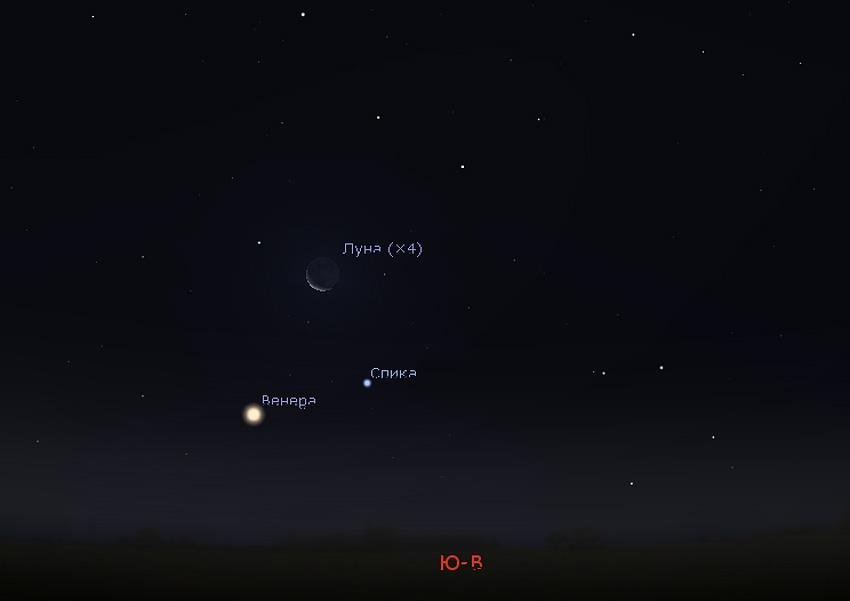 Венера и Луна на небе в декабре 2018
