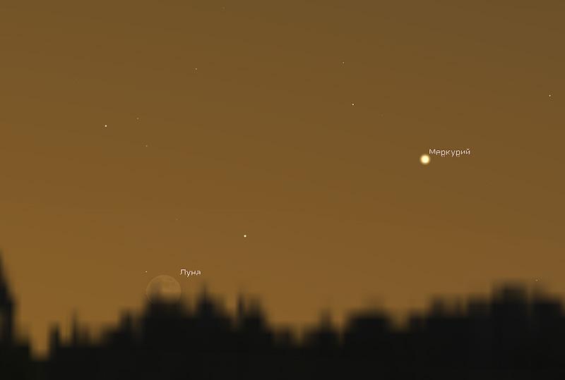 Луна и Меркурий 6 декабря 2018 года
