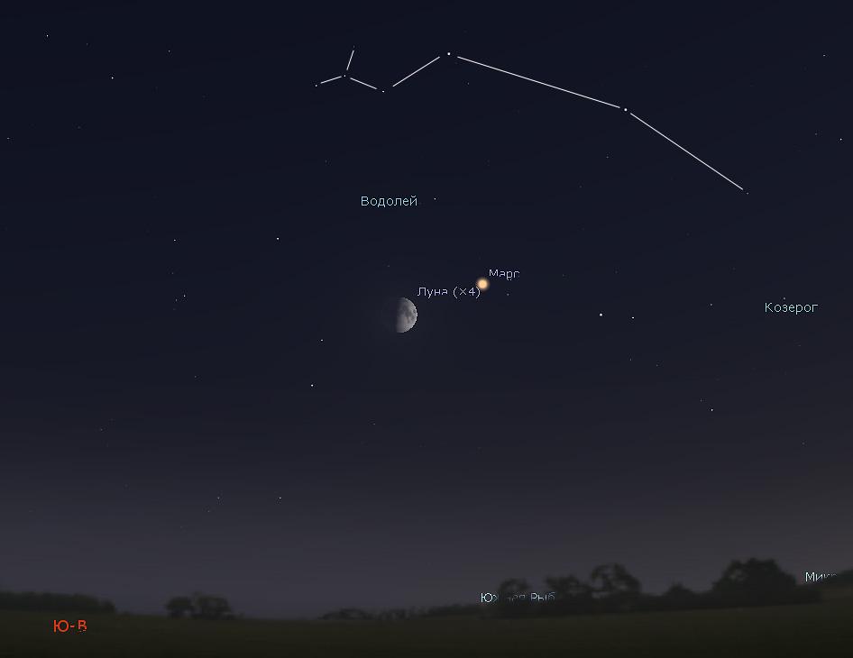 Луна и созвездие Водолея