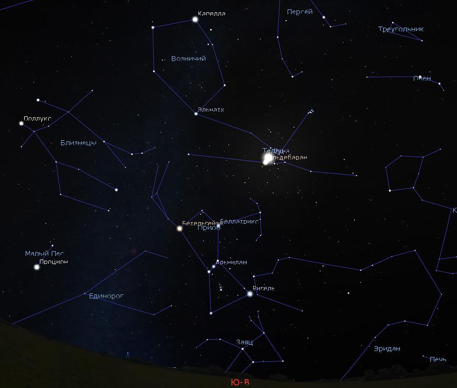 Луна в созвездии Тельца в ноябре 2018