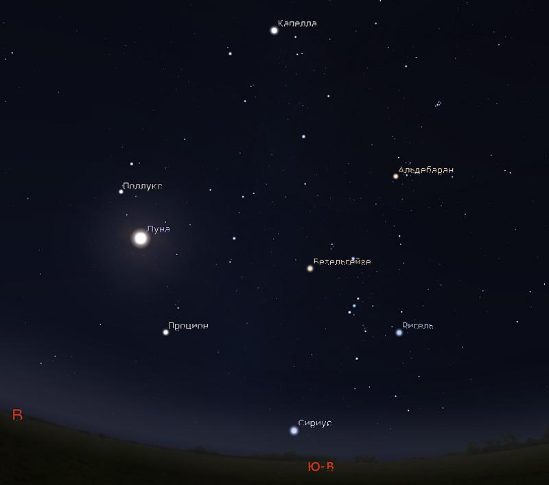 Луна и созвездие Близнецов 26 ноября 2018 года