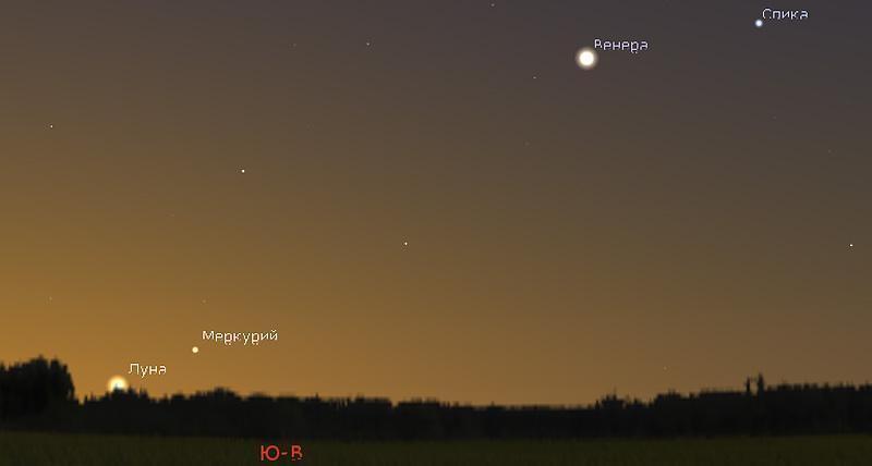 Венера, Меркурий и Луна утром 6.12.2018