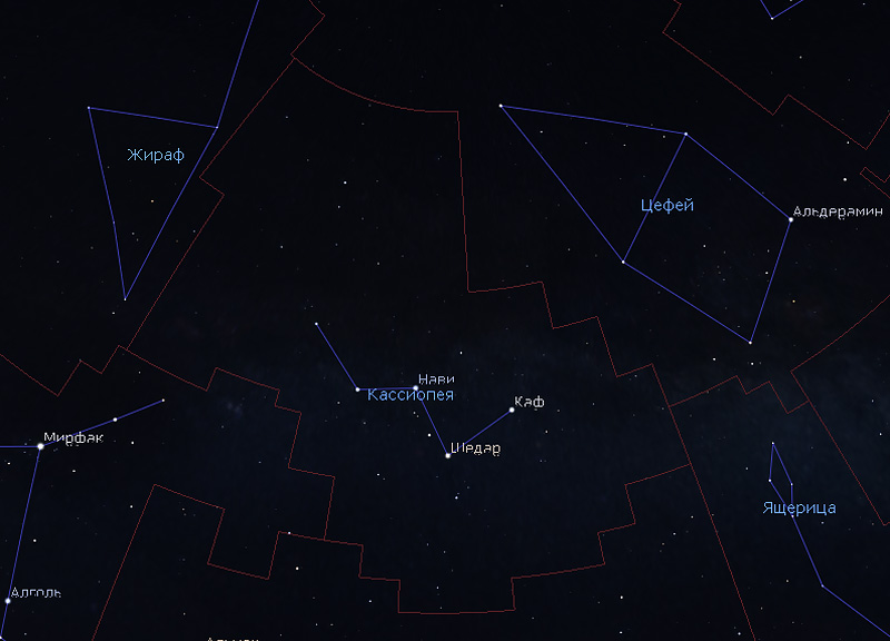 границы созвездия Кассиопеи