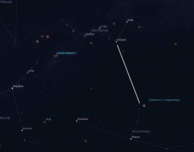как найти галактику Андромеды на небе