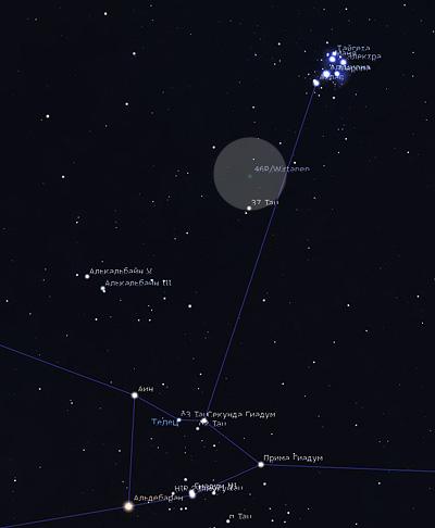 комета Виртанена на небе Wirtanen