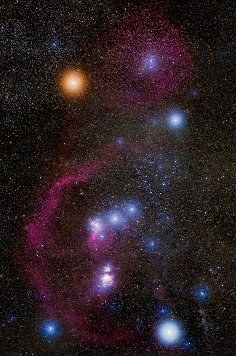 Созвездие Ориона и туманности в нем