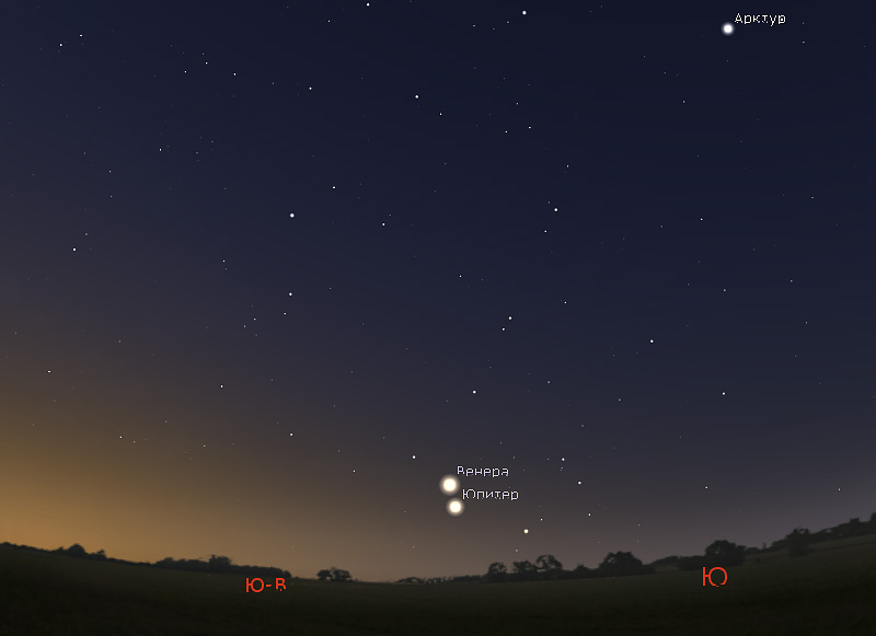 соединение Венеры и Юпитера 22 января 2019 года