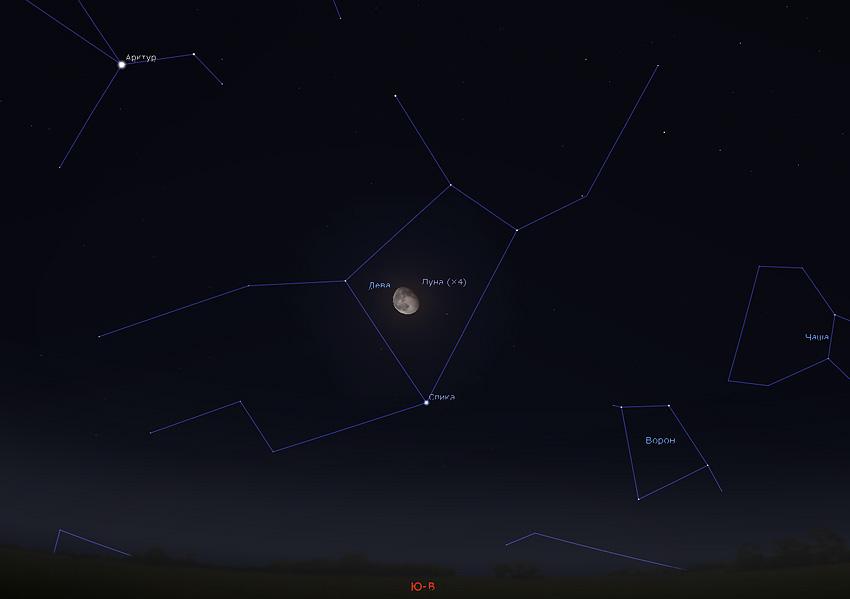 Луна и Спика на небе