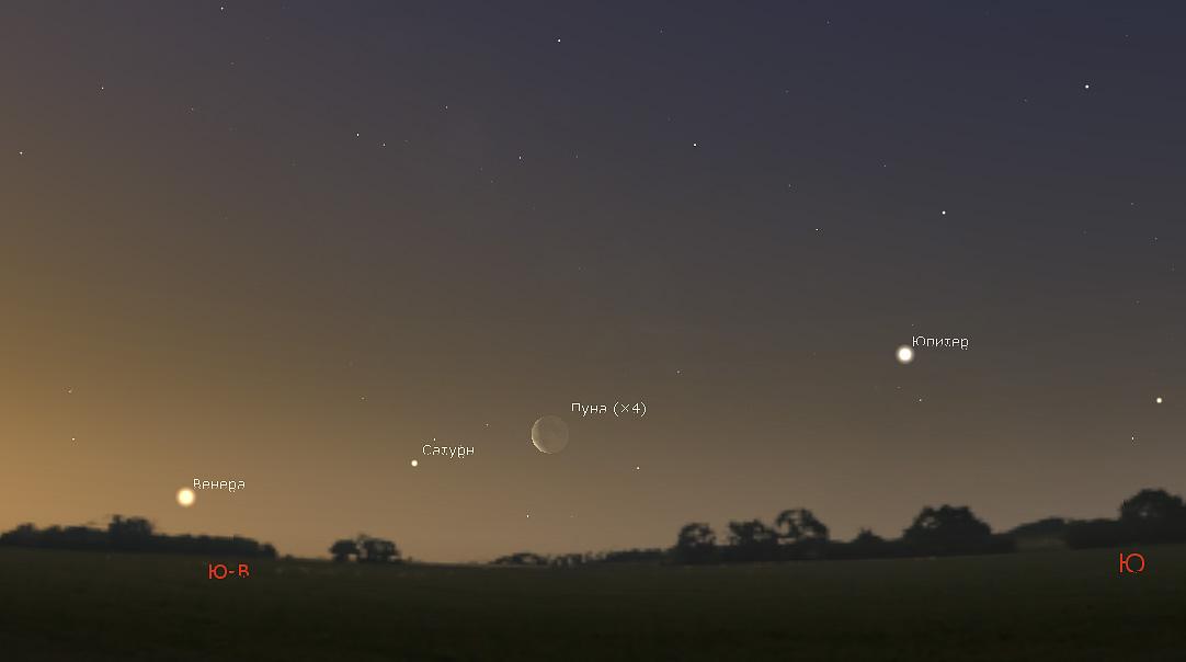 Луна, Юпитер, Венера и Сатурн 1 марта 2019 года