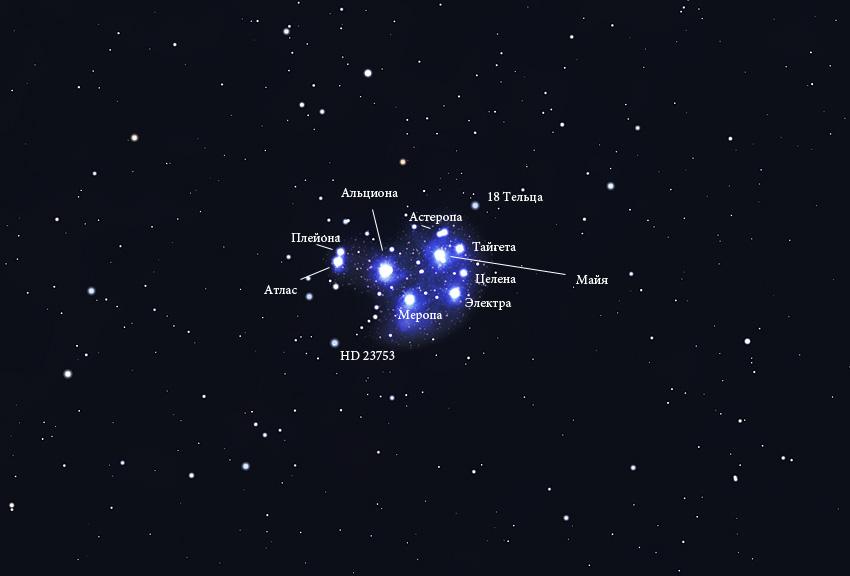 звезды скопления Плеяды