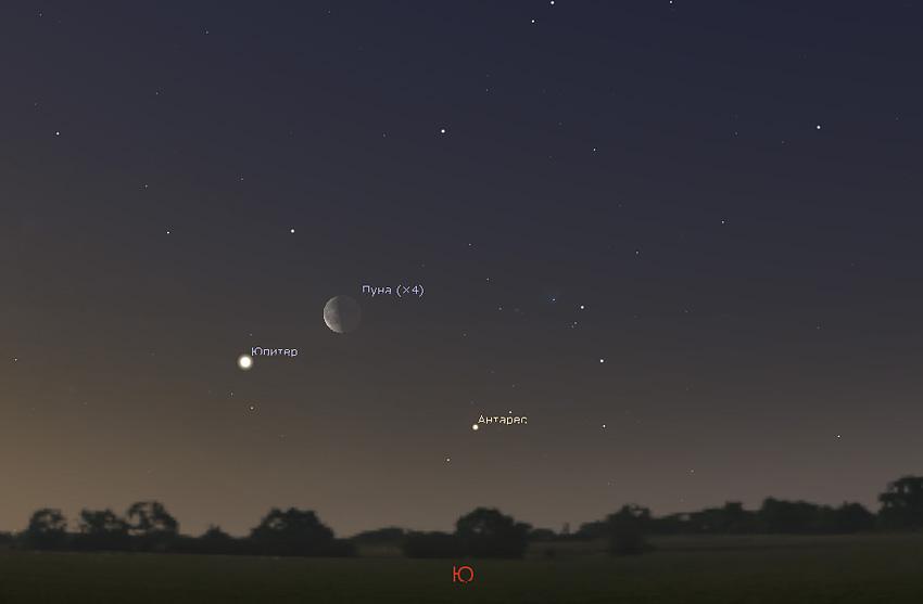 Луна и Юпитер на небе