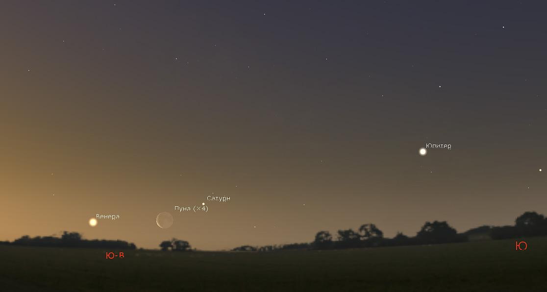 Луна, Венера и Сатурн 2 марта 2019 года