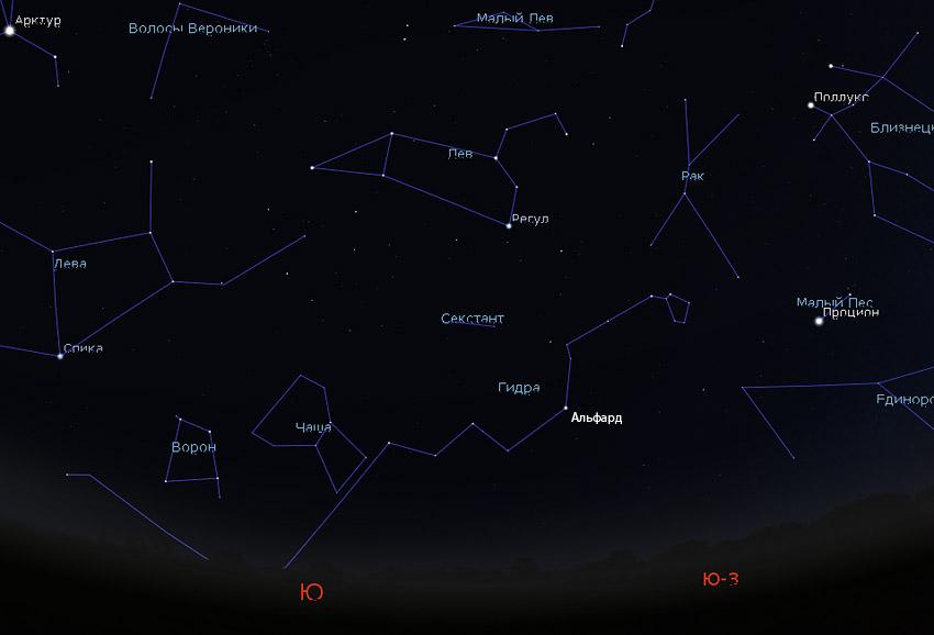 созвездие Гидры на небе