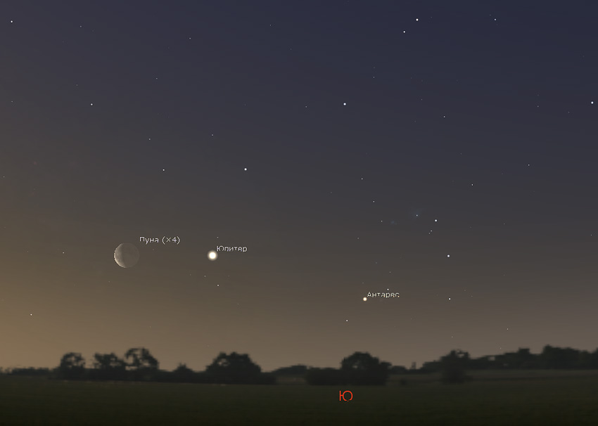 Луна и Юпитер 28 февраля 2019 года