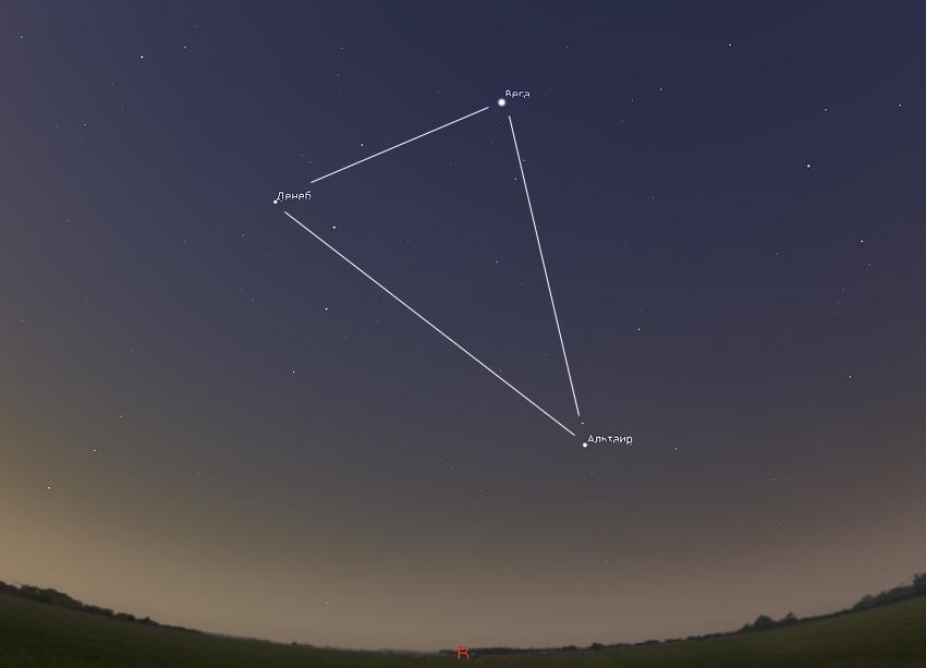 летний треугольник на небе в июне