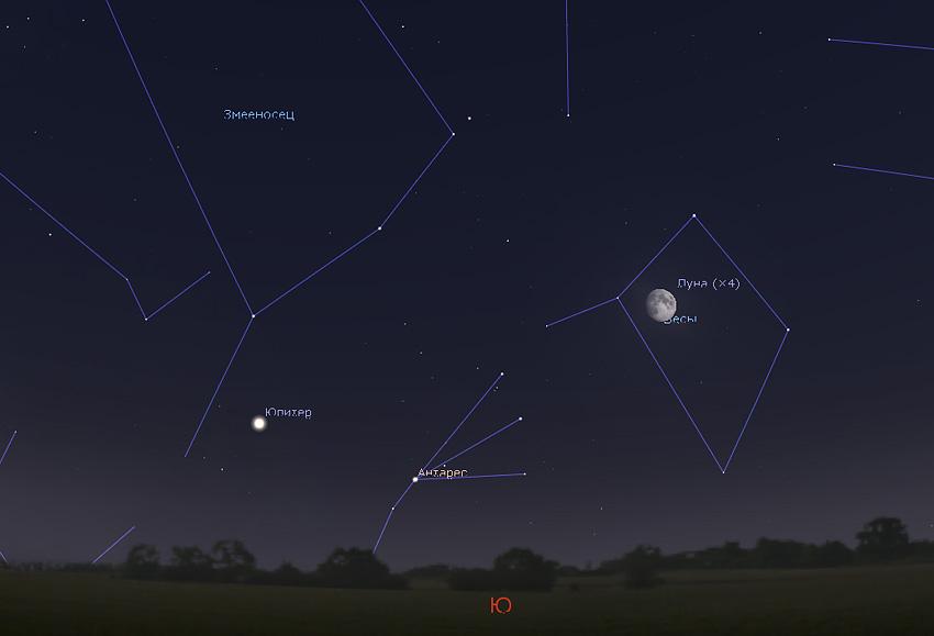 Луна и Антарес
