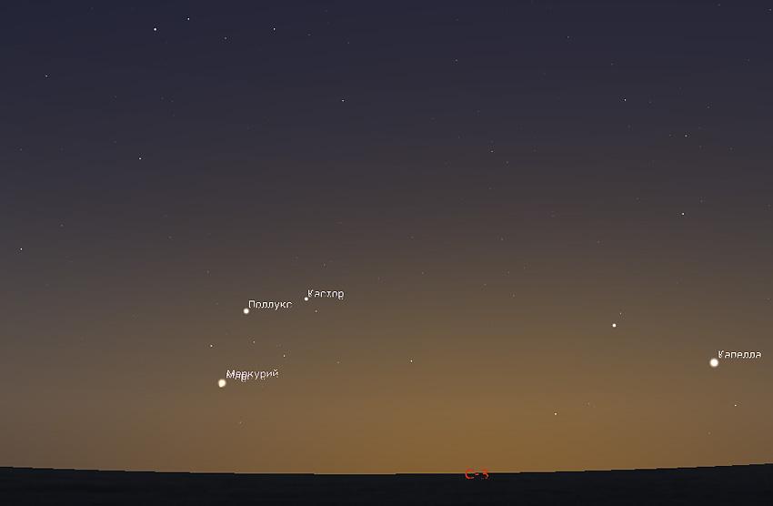соединение Марса и Меркурия 18 июня 2019 года
