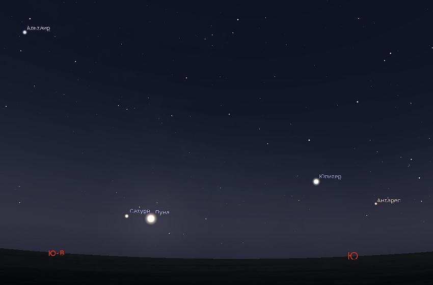 Луна и Сатурн в июне 2019