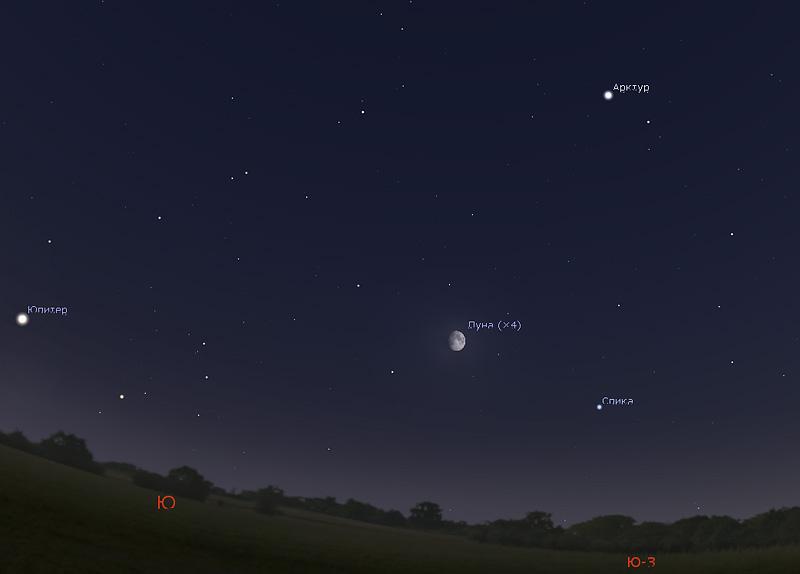 Луна и Спика на небе в июне