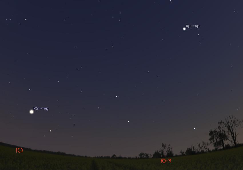 Юпитер и Арктур в июле 2019 года