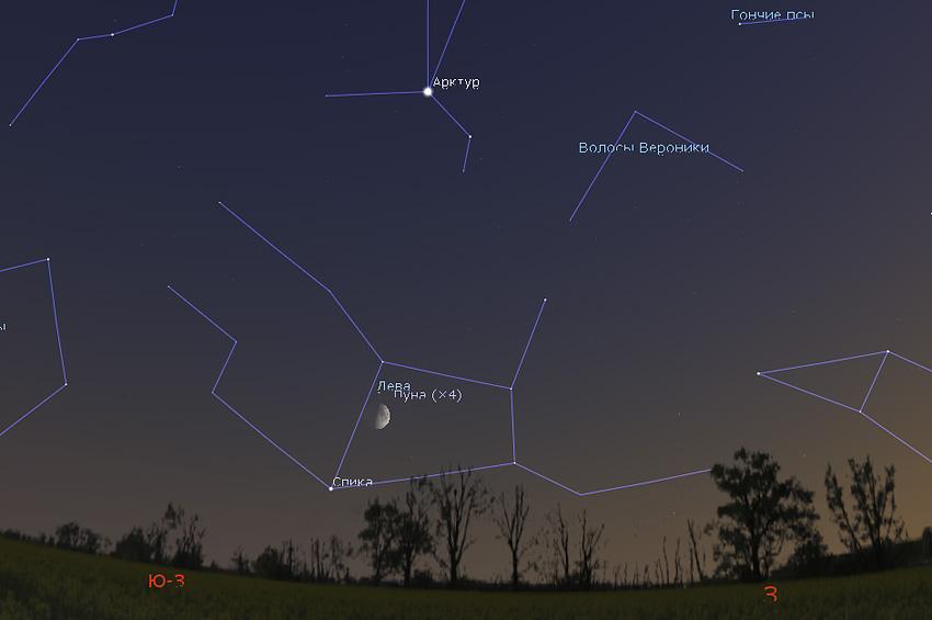 Луна и звезда Спика на небе