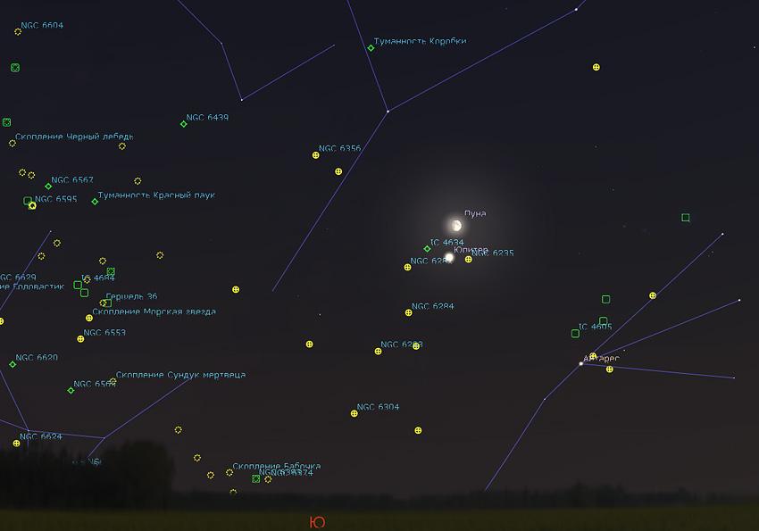 Юпитер и созвездие Змееносца в 2019 году