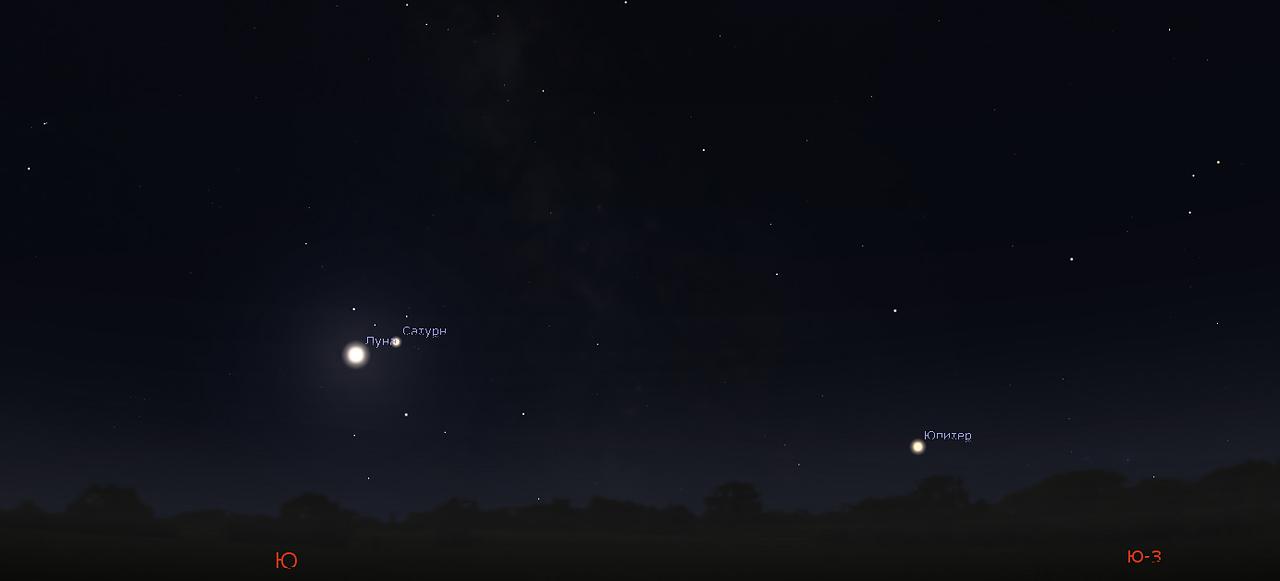 Луна и Сатурн в сентябре 2019