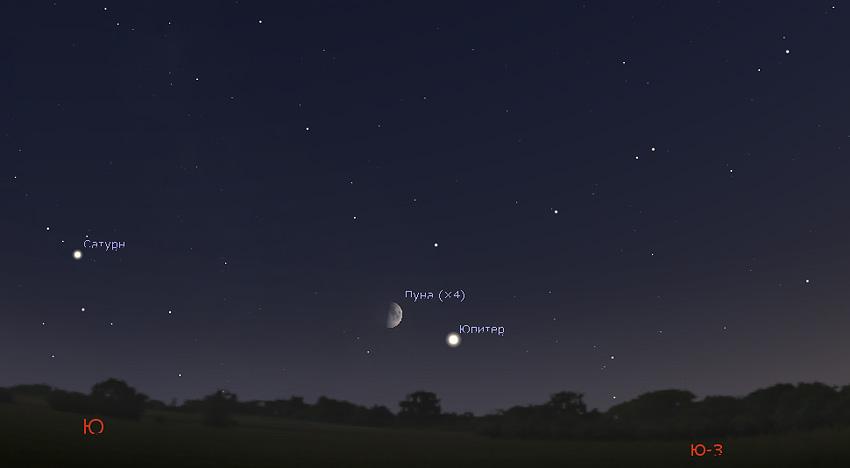 Луна и Юпитер в сентябре 2019