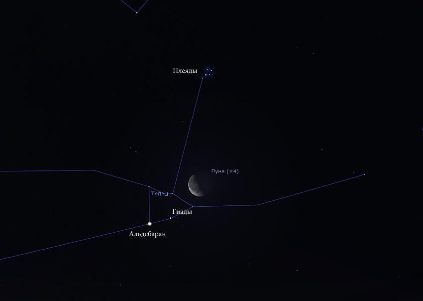 Луна и Гиады в августе 2019