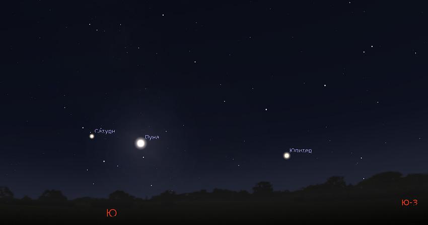 Луна, Сатурн и Юпитер 11 августа 2019