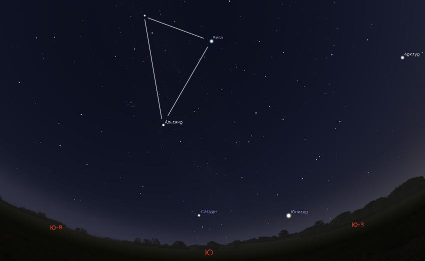 Сатурн и Летний треугольник
