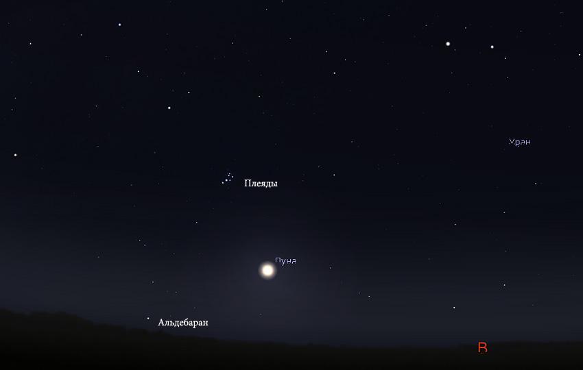 Луна и Плеяды в сентябре 2019
