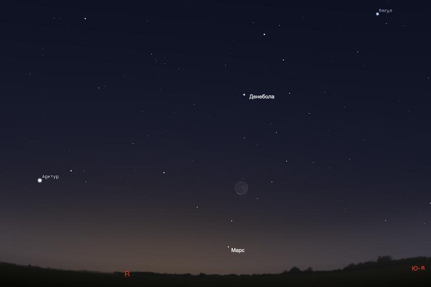 Луна и Марс на небе в октябре