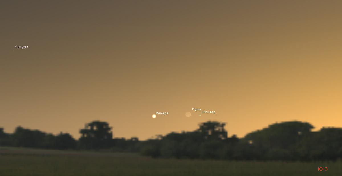 Луна и Венера в ноябре 2019