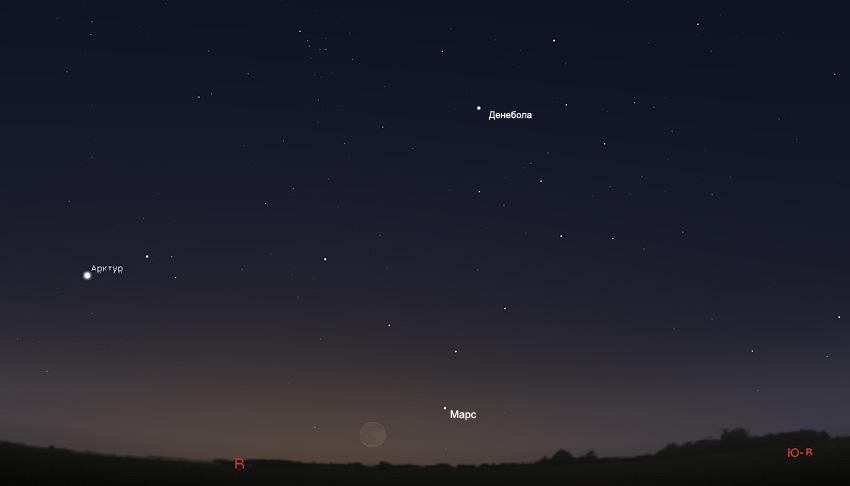 Луна и Марс на небе в октябре 2019 года