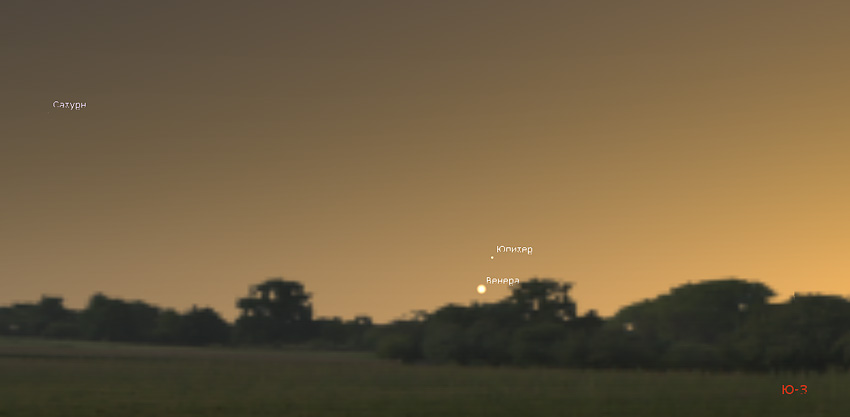 соединение Венеры и Юпитера 24.11.2019