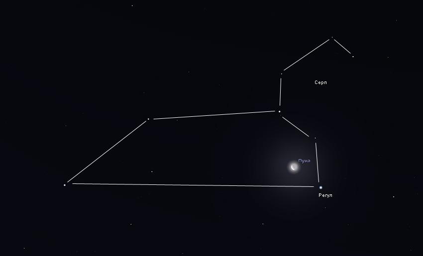 Луна и Регул в ноябре 2019 года