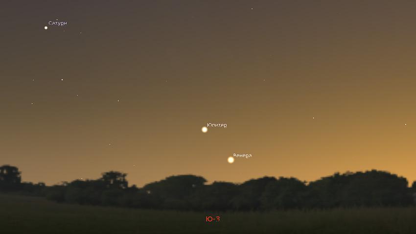 Венера на вечернем небе в ноябре 2019 года