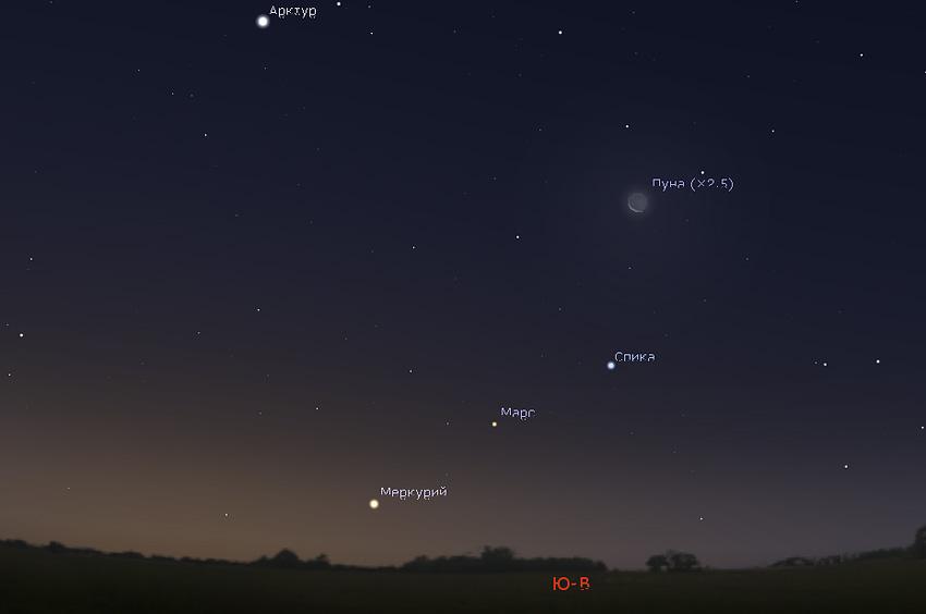 Меркурий и Марс утром в ноябре 2019